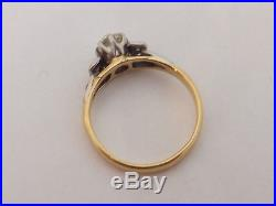 Fine art deco 65 point old mind cut diamond 18ct gold solitaire ring 18k 750