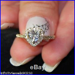 Heart Brilliant cut Halo Solitaire Accents Engagement ring 14K solid Yellow Gold