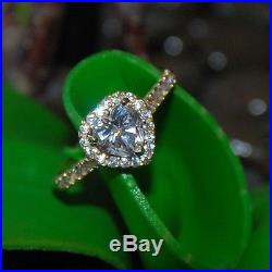 Heart Solitaire Promise Engagement Jewelry ring 14K solid Yellow Gold Size 4-12