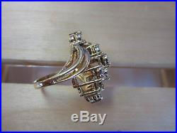 Huge 3.00 Ct Diamond Engagement Cluster 10K Yellow Gold Cocktail Ring Size 7