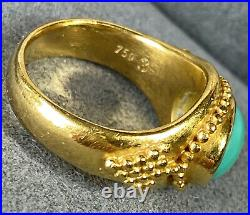 Ilias Lalaounis Archaeological Revival 18K Yellow Gold Turquoise Cabochon Ring