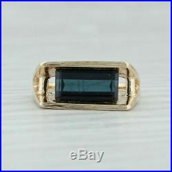 Indicolite Tourmaline Abstract Ring 14k Yellow Gold Size 5.75 Solitaire