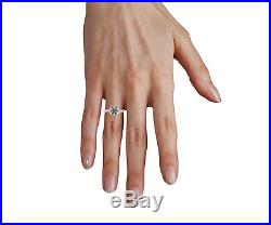 Knife edge Solitaire Ring Engagement Solid Yellow Gold 14K Flower Prongs 1.0 CT