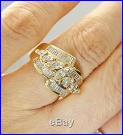Ladies 14k Gold 2ctw Marquise & Baguette Diamond Anniversary Band Ring Size 6