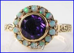 Lovely 9ct 9k Gold Poison Locket African Amethyst Aus Opal Art Deco Ins Ring