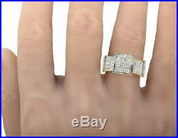 Men's 10K Yellow Gold Over Diamond Pave Square Iced Pinky Engagement Ring 2.65ct