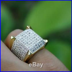 Men's 10K Yellow Gold Over Pave Iced Diamond Puff Pinky Engagement Ring 1.90 CT