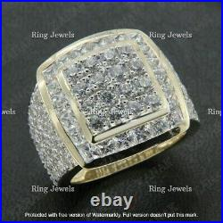 Men's 10K Yellow Real Gold Over Round 3.00 Ct Diamond Engagement Band Pinky Ring