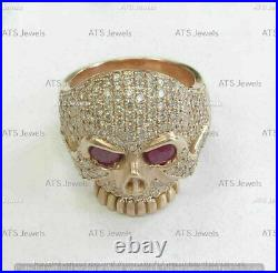 Men's 2.5 Ct Ruby Round Cut Diamond Skull Ring 14K Yellow Solid Gold Over Unique