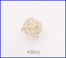 Men's Round Puffed Nugget Two-Tone Ring Real 10K Yellow White Gold Size 12
