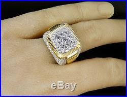 Men's Yellow Gold Finish Simulated Diamond 3D Iced Square Pinky Engagement Ring