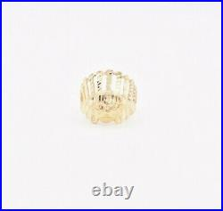 Mens Indian Chief Head Diamond Cut Ring Real Solid 10K Yellow Gold Size 10