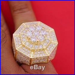 Mens New Style Huge Cluster Pinky Ring 10 Carat Diamonds Iced Out All Over Deal