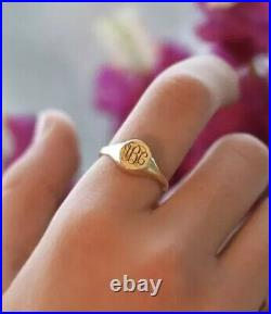 Mens Womens Signet Ring Custom Personalized Open Back Solid 14K Yellow Gold