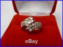 Natural 1 Carat Round Diamond Cluster Bypass Ring Solid 14k Yellow Gold Sz 6.5