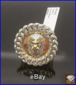 New 10k Yellow Gold, 0.82CT Lion Head Red Eye Men's Ring, Band, Sizable, Casual