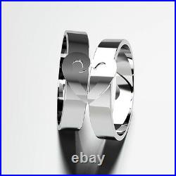New His and Hers Matching Wedding Ring Set 9 CT White or Yellow Band 4mm 6mm 8mm