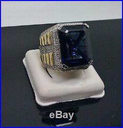 New Men's Square Blue Sapphire Ring With 0.85CT Diamonds in 10K Yellow Gold