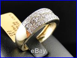 New Mens Yellow Gold Round Cut Diamond 8 MM Wedding Band Channel Ring 1.20 Ct
