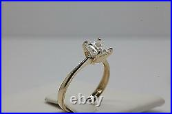Princess Cut 1Ct Solitaire Engagement Ring 4 Prong 14k Real Solid Yellow Gold
