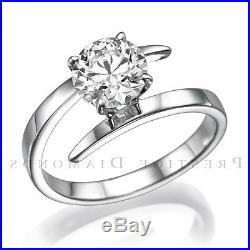 Round Diamond Ring Jewelry 4 Prongs 14k Yellow Gold Solitaire Real Size 5 6 7 8
