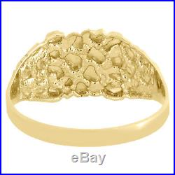 Real 10K Yellow Gold Men's Nugget Style Pinky Ring Custom Fancy Band 10.5mm