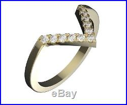 Real Yellow Solid 14K Gold Matching Wedding Band Ring For Marquise Cut 0.3ct