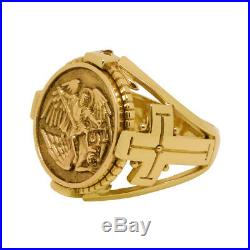 Saint Michael the Archangel handcrafted 10K solid gold mens ring Size 10 US