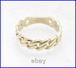 Size 10 Mens Miami Cuban Curb Band Ring Real Solid 10K Yellow Gold