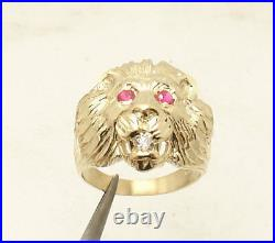 Size 11 Men's Lion Head Ring Ruby Eyes Real Solid 10K Yellow Gold 7.4gr