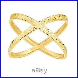 Size 7 Diamond Cut Shiny X Design Ring Solid Real 14K Yellow Gold Ladies