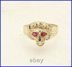 Size 7 Men's Lion Head Ring Ruby Eyes Real Solid 10K Yellow Gold 3.1gr