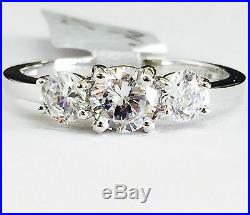 Solid 14K White Gold Round Three-Stone Cubic Zirconia Engagement Ring 5mm CZ