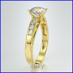 Solid 14K Yellow Gold Solitaire Engagement Ring 1.25 Ct