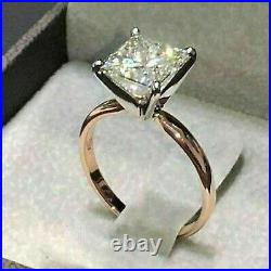 Solid 14K Yellow gold 2.51ct Princess cut Solitaire Diamond Engagement Ring