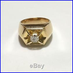 Solid 14k Yellow Gold. 40 Ct Round Cut Solitaire Diamond Mens Ring Size 5.5