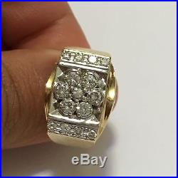 Solid 14k Yellow Gold. 97 Ct Round Cut Diamond Mens Ring Size 9