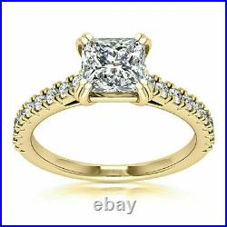 Solitaire 2.25 CT Princess Cut Diamond Her Engagement Ring 14k Yellow Gold Over