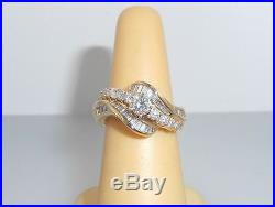 Stunning 14K yellow Gold 1.00ctw White DIAMOND Cluster Cocktail Ring size 5