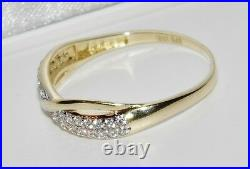 UK Hallmarked 9ct Yellow Gold 0.25ct Crossover Eternity Wedding Ring size P