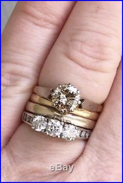 Unbelievable 1.3 Carat Diamond Solitaire Ring In 18ct Gold & Plat. Champagne 18k