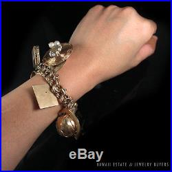 VINTAGE CHARM BRACELET 132g 14K GOLD STAMPED WITH PHOTO DATES CARS RING