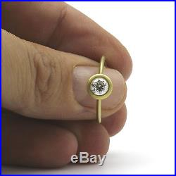 Vintage Round Brilliant Diamond Ring Si2 1 Ct Solid 18k Yellow Gold Brushed