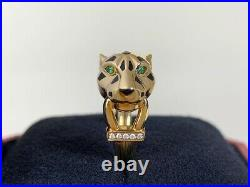 Very Rare Cartier 18K Gold Panthere De Cartier Ring Size 55 with Box & Paper