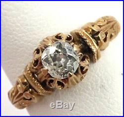 Victorian 18k Yellow Gold 1878.40ct Old Mine Cut Diamond Ring Size 8.5 5.44gr
