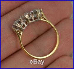 Victorian 1.2ct Old Cut Diamond 18ct Gold Trilogy Ring d0535