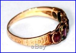 Victorian antique 15 ct gold 5 stone purple amethyst ring size M 1/2 engraved