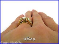 Vintage 0.77CT Fine Marquise & Round Diamond Engagement Ring 14k Yellow Gold