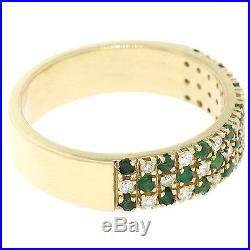 Vintage 14K Yellow Gold. 98ctw Round Diamond Emerald Checkerboard Wide Band Ring