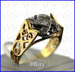 Vintage 14K YellowithWhite Gold Old European Cut Diamond and Sapphire Ring Size 7